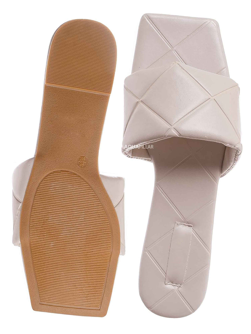 Ivory White / Block22 Quilted Flat Slipper Sandal - Womens Open Square Toe Slides
