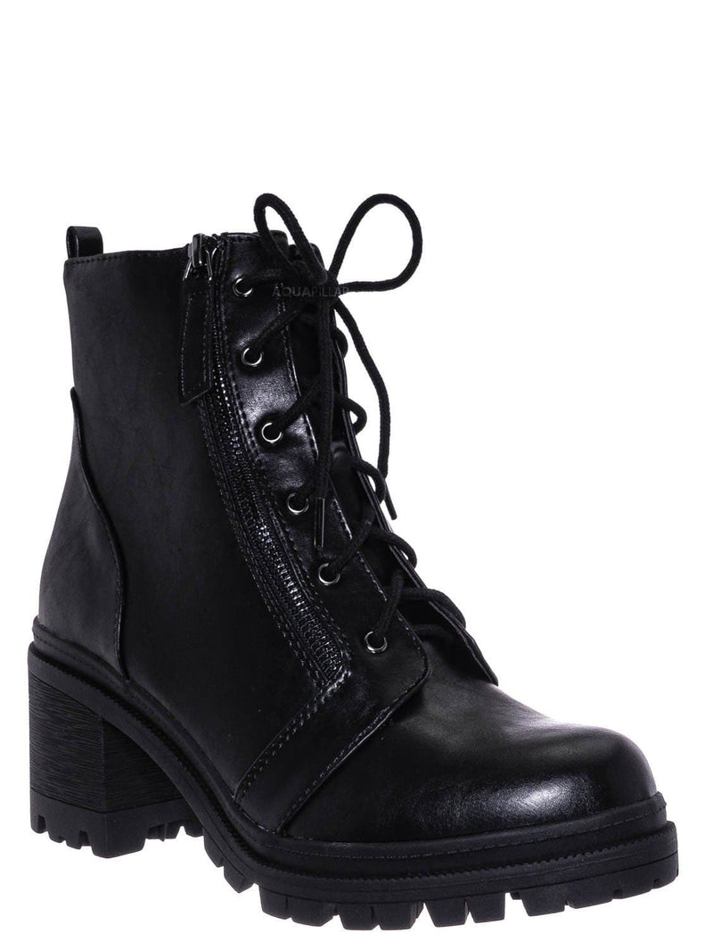 Black / Indiana Lace Up Combat Bootie - Threaded Lug Sole Chunky Block High Heel