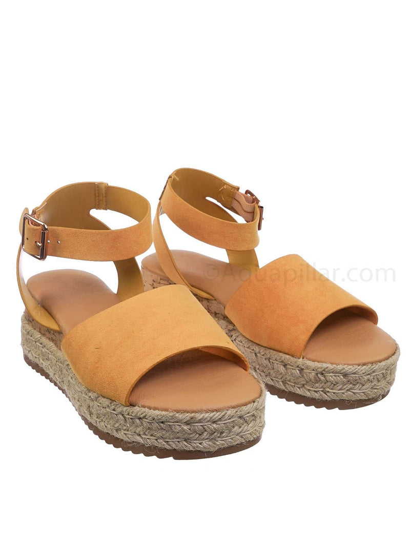 Marigold Yellow / Leading Espadrille Wedge Flatform Sandal -Women Open Toe Flat Platform Jute Wrap