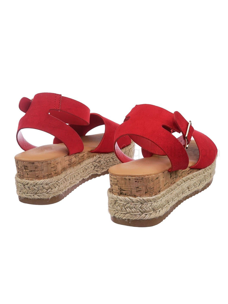 Red / Leading Espadrille Wedge Flatform Sandal -Women Open Toe Flat Platform Jute Wrap