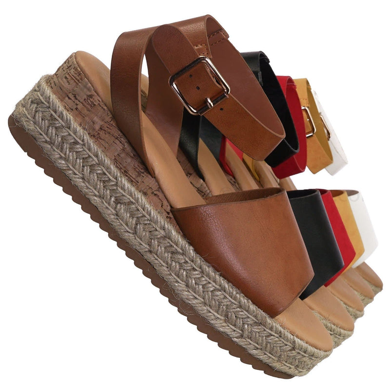Tan Brown / Leading Espadrille Wedge Flatform Sandal -Women Open Toe Flat Platform Jute Wrap