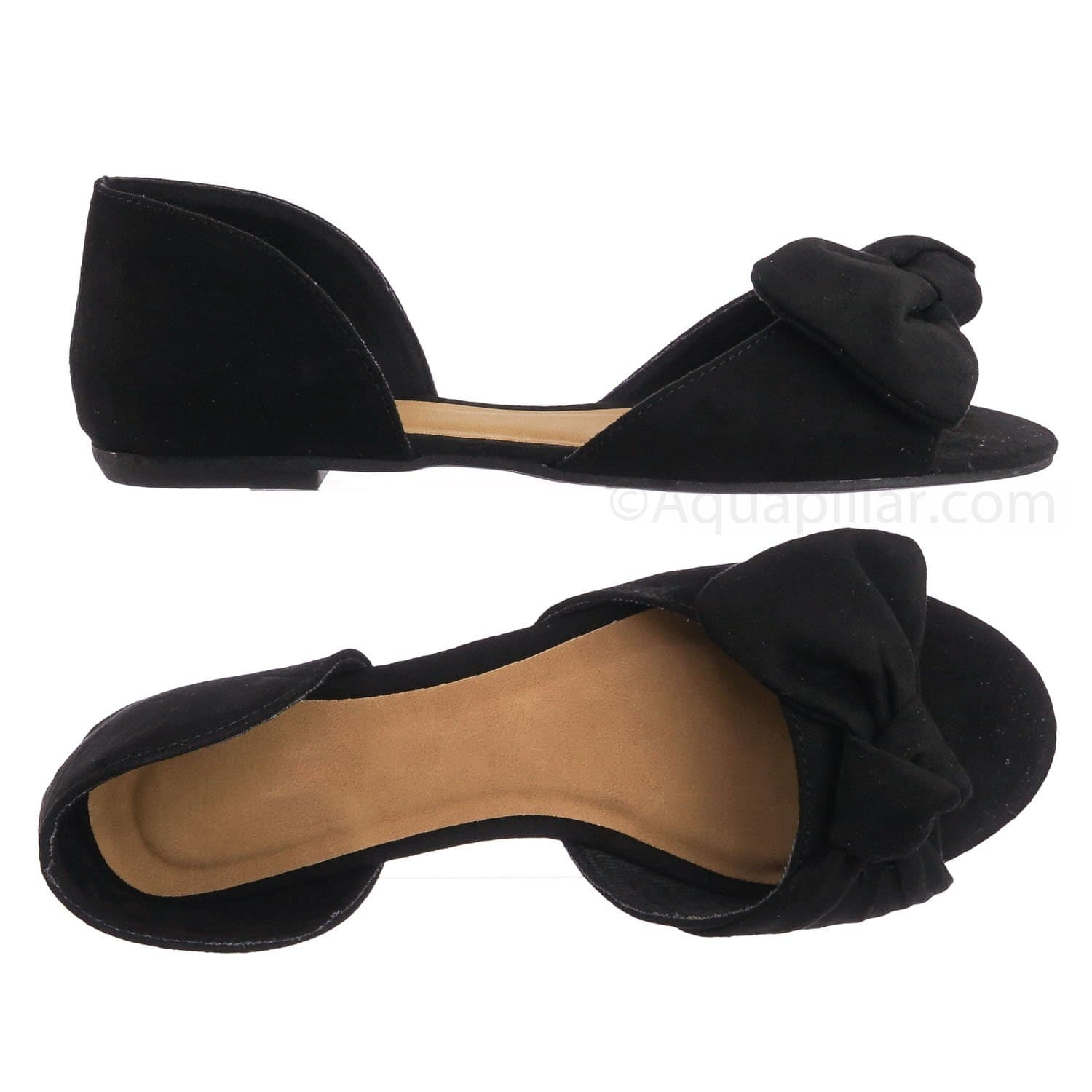 Leona77 BlkFs Bow d'Orsay Peep Toe Flats - Women Slip On Two Piece Sandal