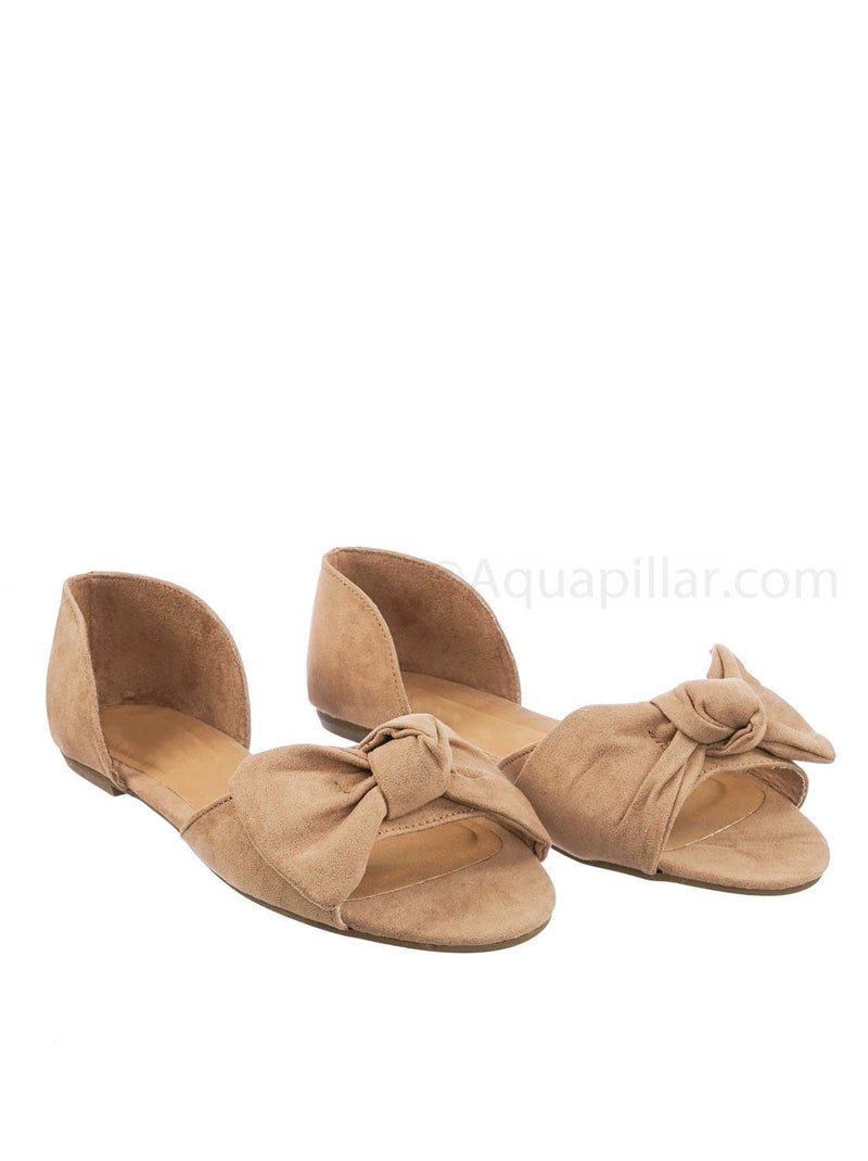 Camel Beige / Leona77 CamFs Bow d'Orsay Peep Toe Flats - Women Slip On Two Piece Sandal