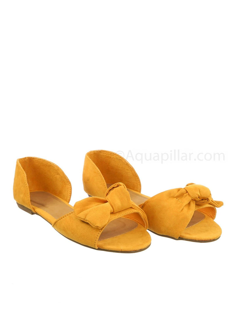 Marigold Yellow / Leona77 MgdFs Bow d'Orsay Peep Toe Flats - Women Slip On Two Piece Sandal