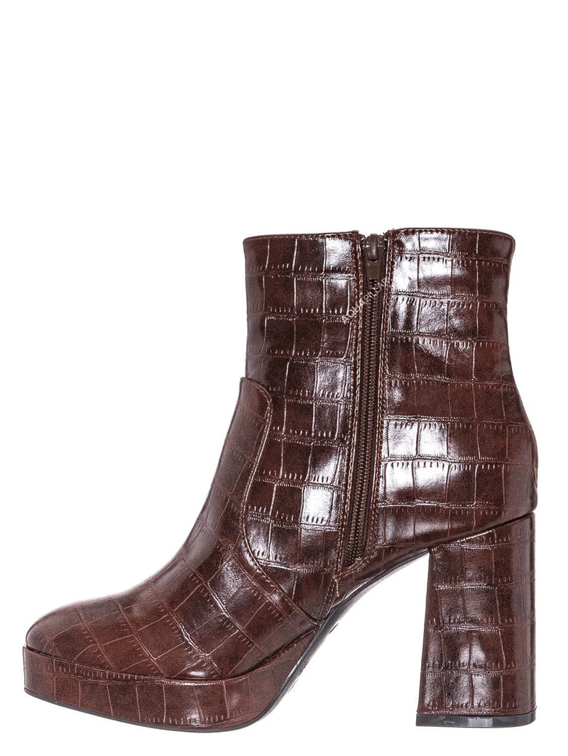 Brown Croc Print / Underlined01 Platform Block Heel Bootie - Women Croc & Suede Ankle Pump Boot