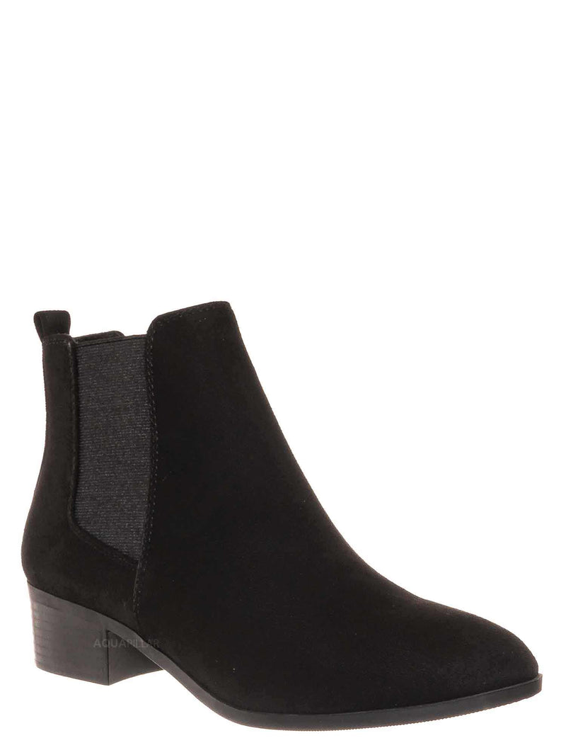 Black / Teapot Chelsea Ankle Bootie On Chunky Block Heel