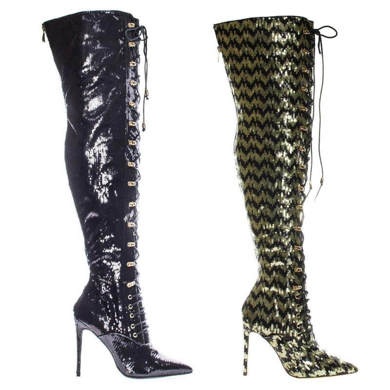 Ecstasy Military Combat Corset Lace Up Mesh Glitter Over Knee, High Heel Dress Boot