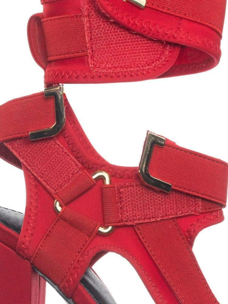 Red Pu / Glamrock Red Neoprene Elastic Block Heel Sandal - Women Hook Loop Pride Strappy Cage
