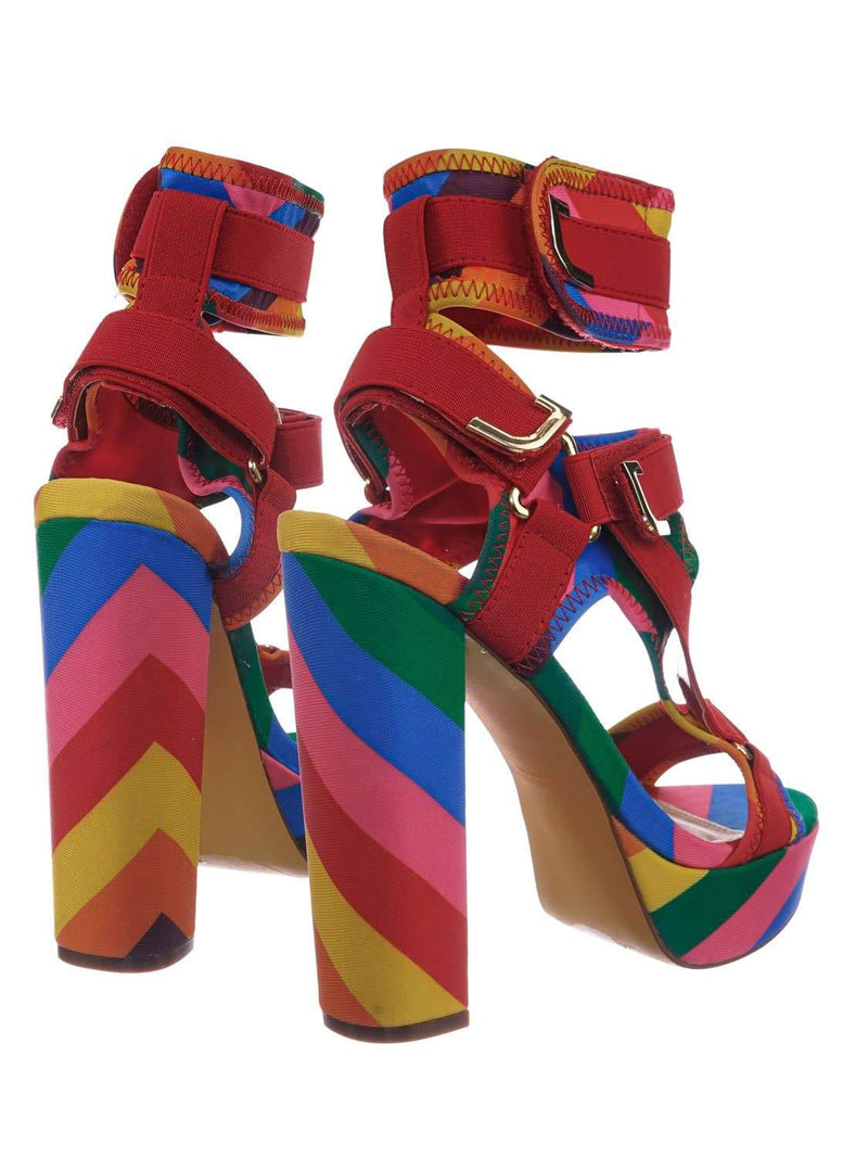 Rainbow Red / Glamrock Rainbow Neoprene Elastic Block Heel Sandal - Women Hook Loop Pride Strappy Cage
