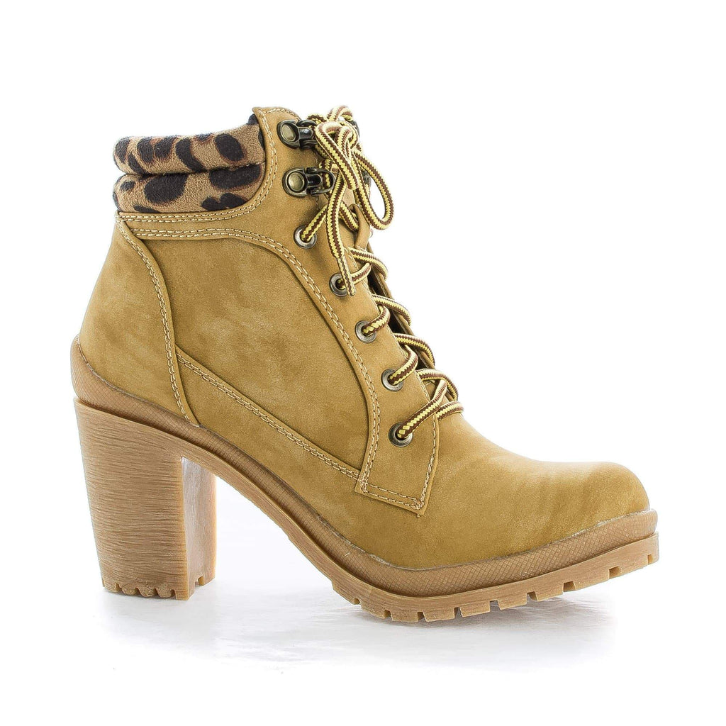 Hanson1 Camel Leopard By Liliana, Lace Up Leopard Ankle Cuff Lug Sole Boots