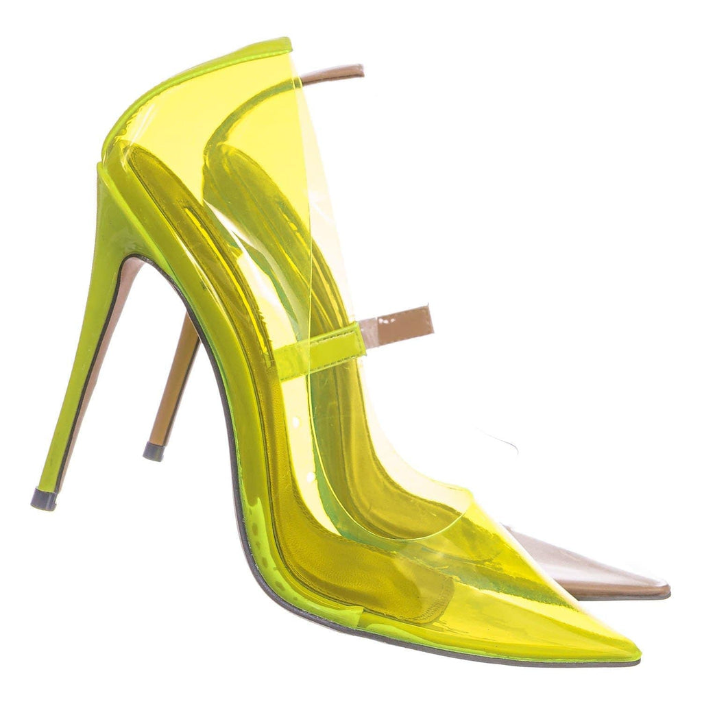 Lime Yellow / Kimye1 NLime Lucite Clear High Heel Dress Pump - Women Neon Pointed Toe Stiletto