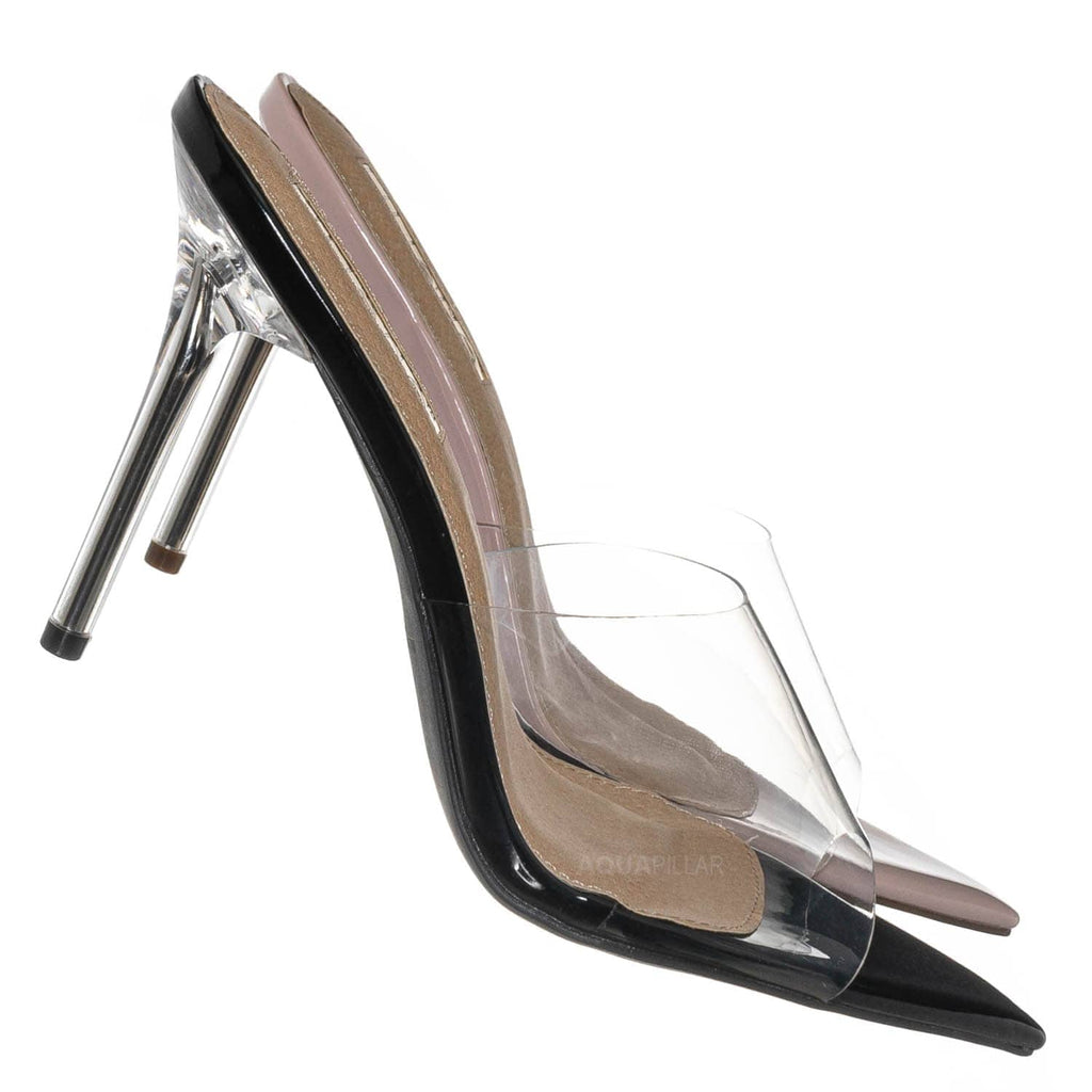 Black / Kulture1 Clear High Heel Slippers - Lucite Pointed Open Toe  Stiletto Slide Mule