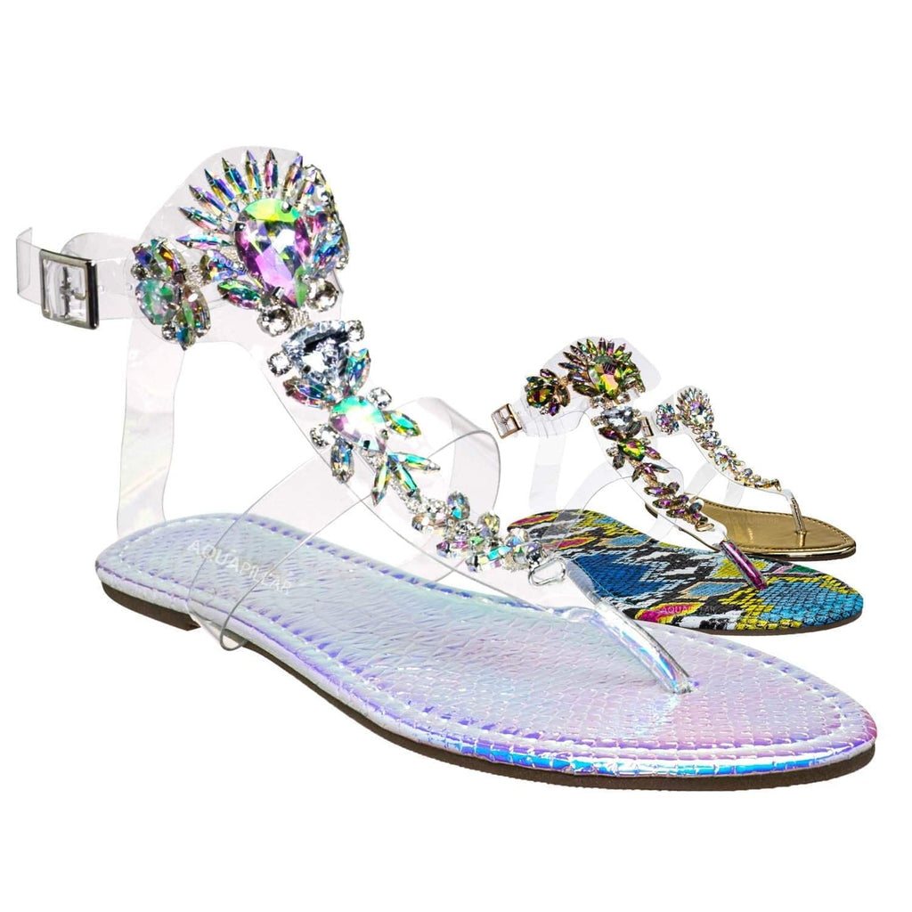 Pink Hologram / Marlo29 Lucite Clear Rhinestone Embellished Sandal - Transparent Strappy Flats