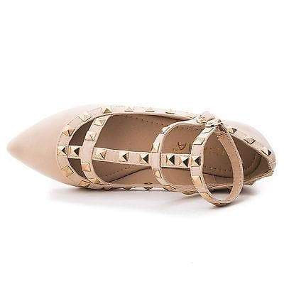 Mila62 Beige Pu By Liliana, Pointy Toe Pyramid Studded Strappy Double Buckle Dress Flat