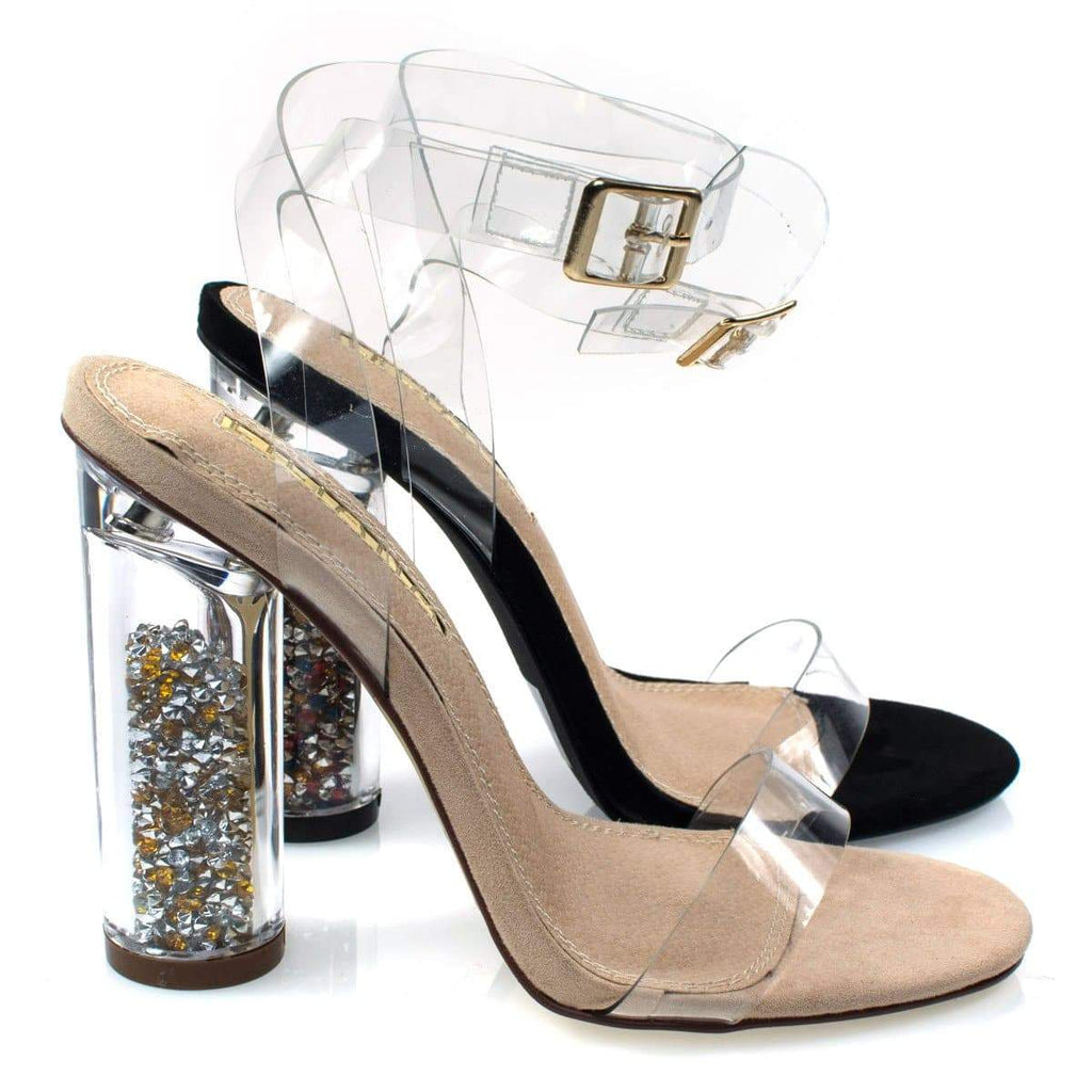 Mills1 Liliana, Multi Color Filling Block Perspex Heel, Clear Strap Sandal