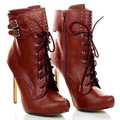 Tavi19 Burgundy Pu By Liliana, Studded Cuff Stiletto Ankle Lace Up Booties