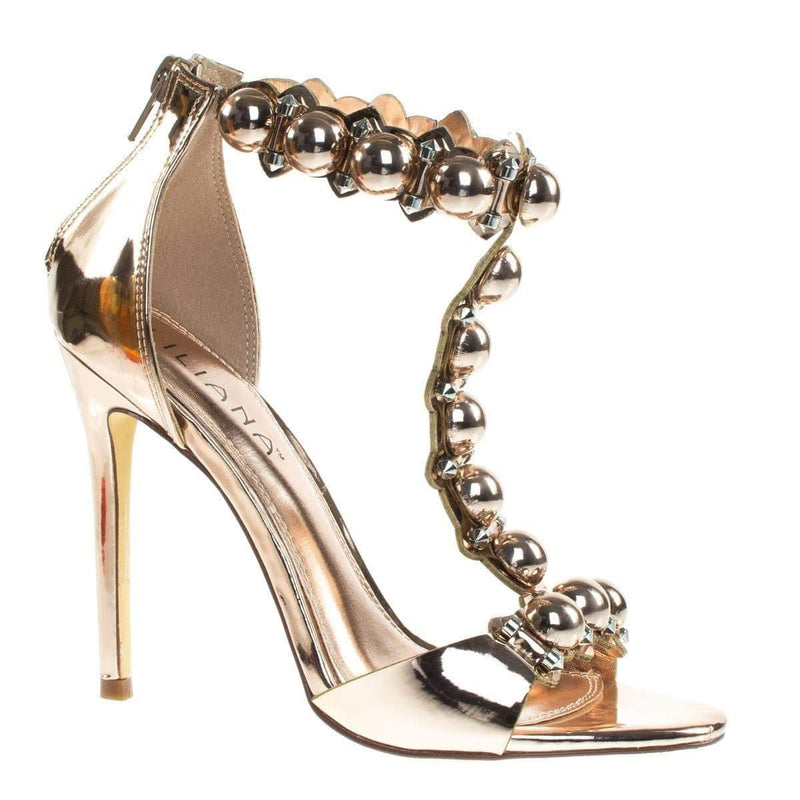 Tisha6A Rose Gold By Liliana Metal Bolt, Half Orb Button, Open Toe T-Strap High Heel Stiletto Sandal