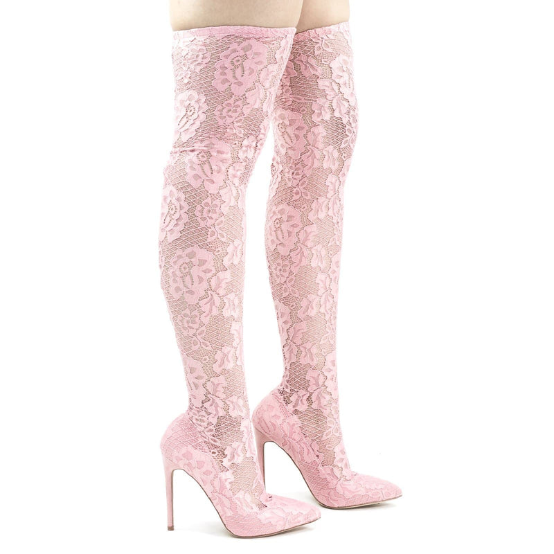 Xaya15 Thigh High Soft Legging, Sock Floral Lace Covered Pump On High Heel