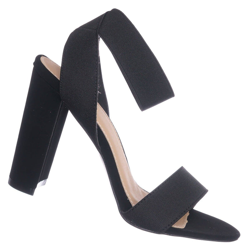 Black Pu / Lily34 Black Elastic Chunky Block High Heel Sandal - Women Open Toe Dress Shoe