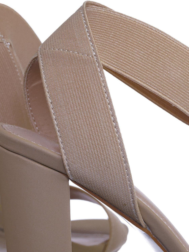 Nude Beige / Lily34 Nude Elastic Chunky Block High Heel Sandal - Women Open Toe Dress Shoe