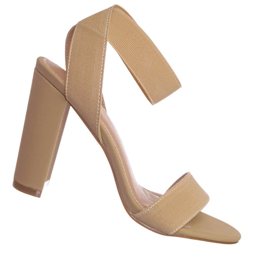 Lily34 Nude Elastic Chunky Block High Heel Sandal - Women Open Toe Dress Shoe