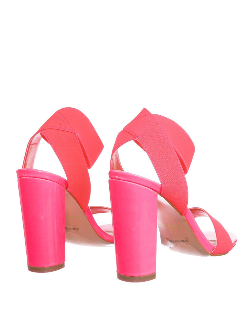 Neon Pink / Lily34 NPnk Elastic Chunky Block High Heel Sandal - Women Open Toe Dress Shoe
