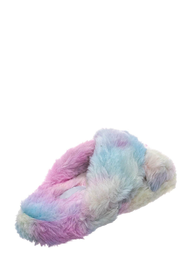 Multi / Ben25K Childrens Furry Slipper - Little Girls Flat Slip On Sandal Faux Fur