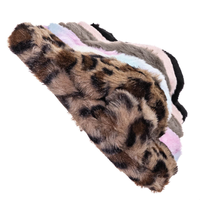 Leopard Print / Ben25K Childrens Furry Slipper - Little Girls Flat Slip On Sandal Faux Fur