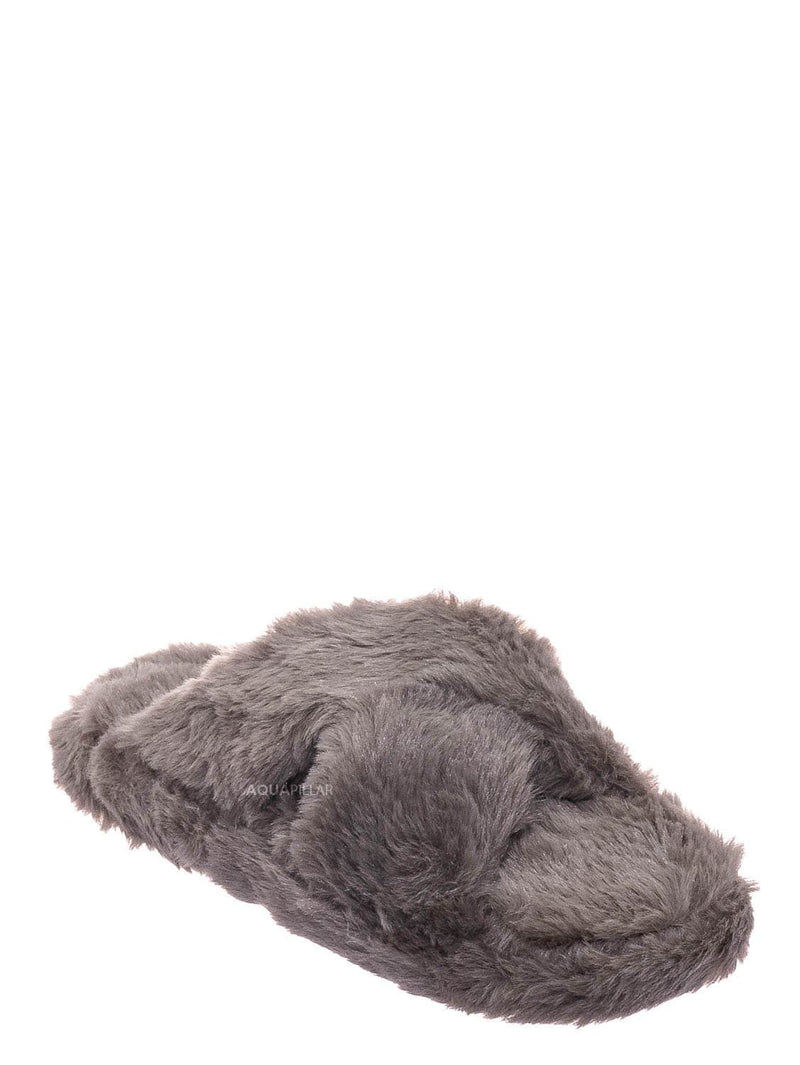 Taupe Gray / Ben25K Childrens Furry Slipper - Little Girls Flat Slip On Sandal Faux Fur