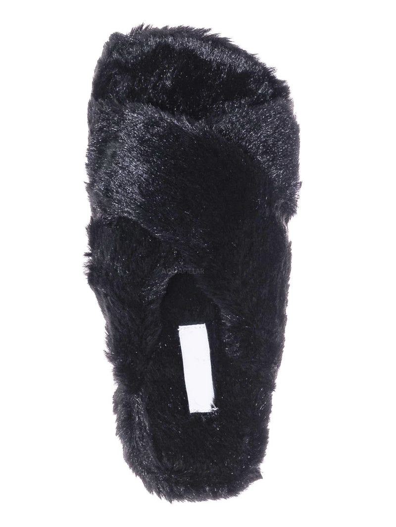 Black / Ben25K Childrens Furry Slipper - Little Girls Flat Slip On Sandal Faux Fur