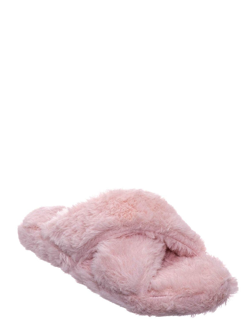 Blush Pink / Ben25K Childrens Furry Slipper - Little Girls Flat Slip On Sandal Faux Fur