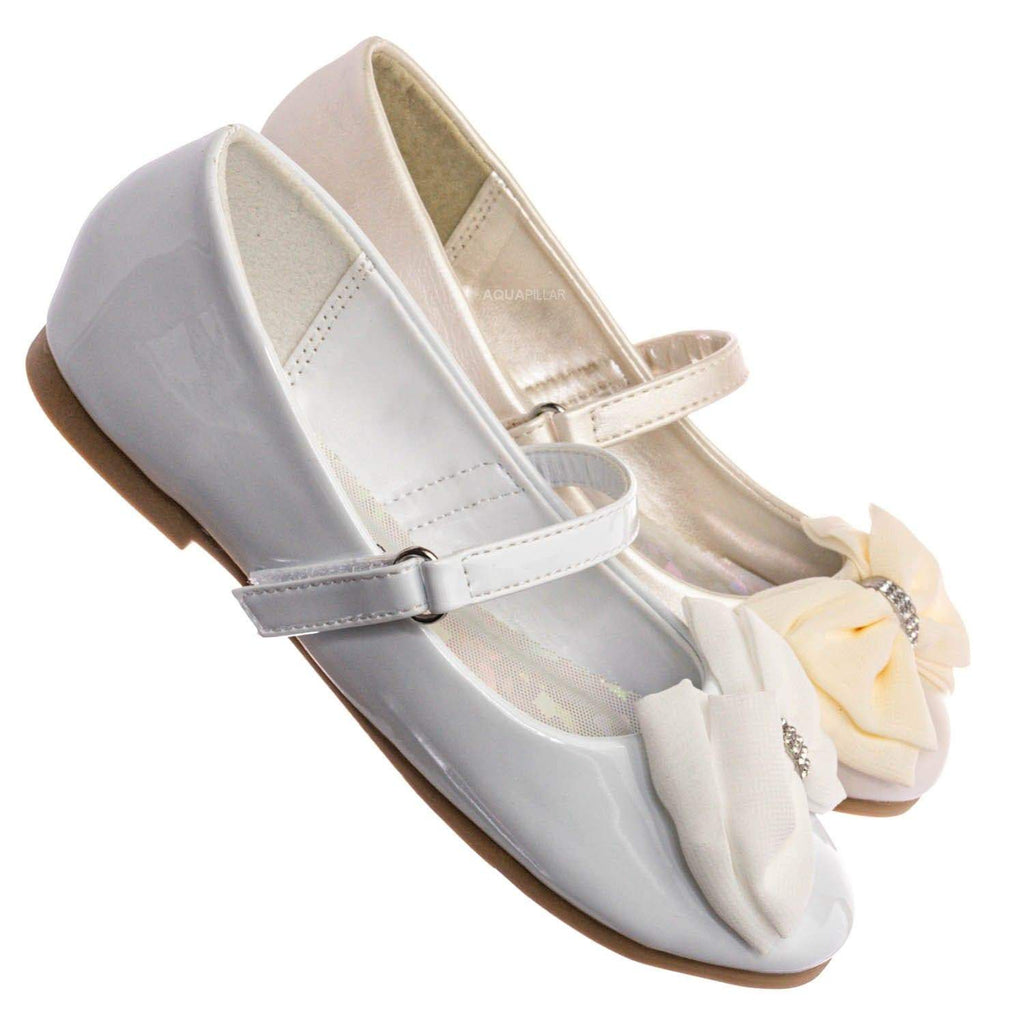 Britt958 Girls Mary Jane Ballet Flat - Kids Bow Rhinestone Crystal Shoes