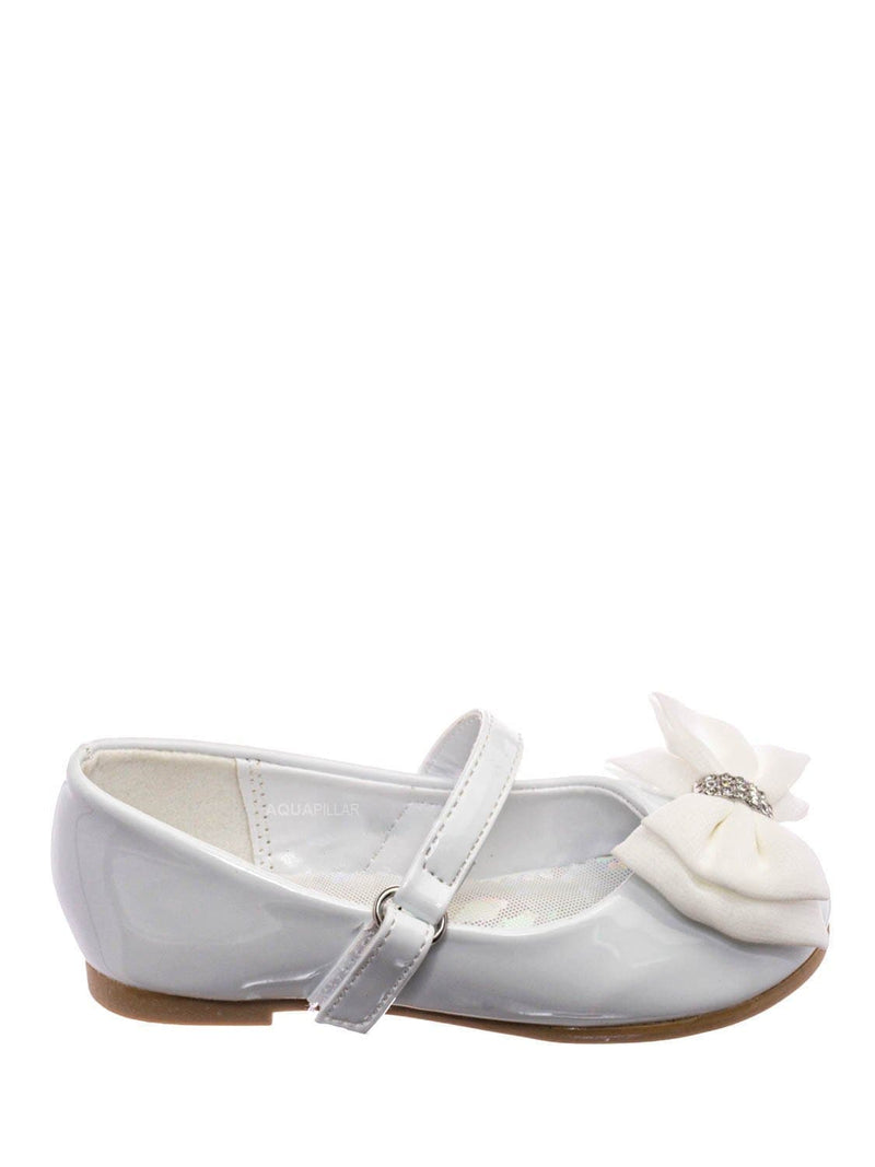 White Patent / Britt958D Baby Girl Mary Jane Ballet Flat - Toddler Bow Rhinestone Crystal Shoes