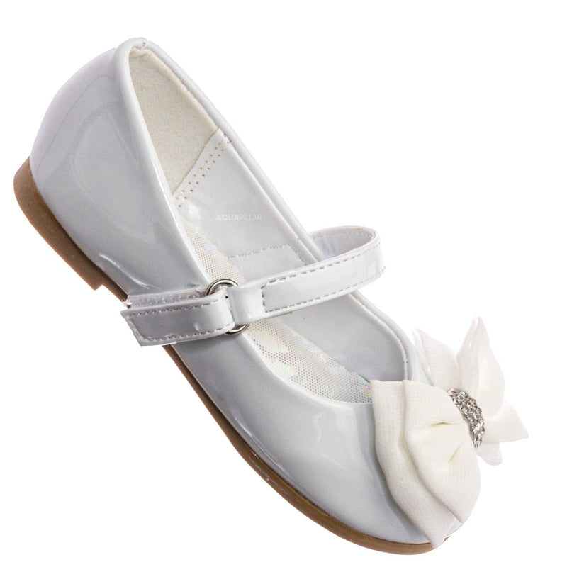 Britt958D Baby Girl Mary Jane Ballet Flat - Toddler Bow Rhinestone Crystal Shoes
