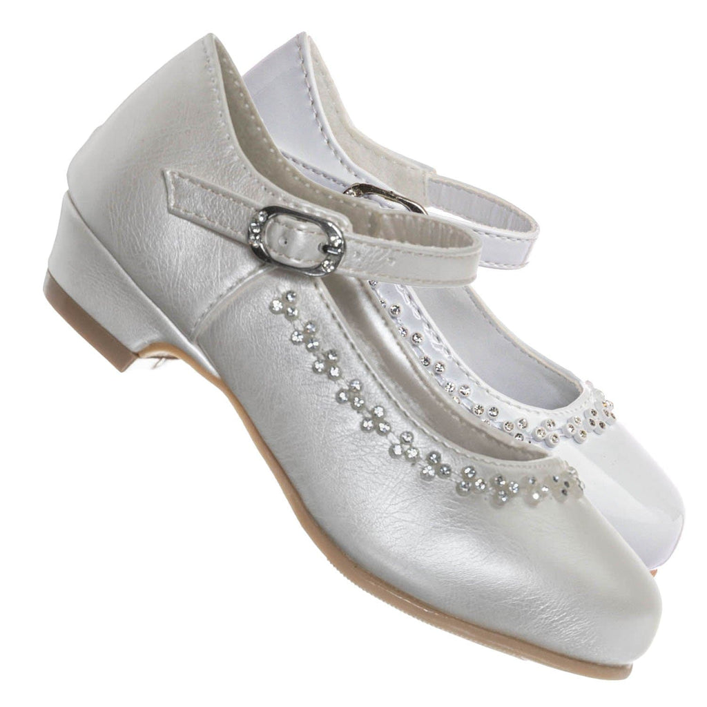Ivory / Daisy016D Baby Girl Block Heel Mary Jane Pump - Rhinestone Wedding Dress Shoes
