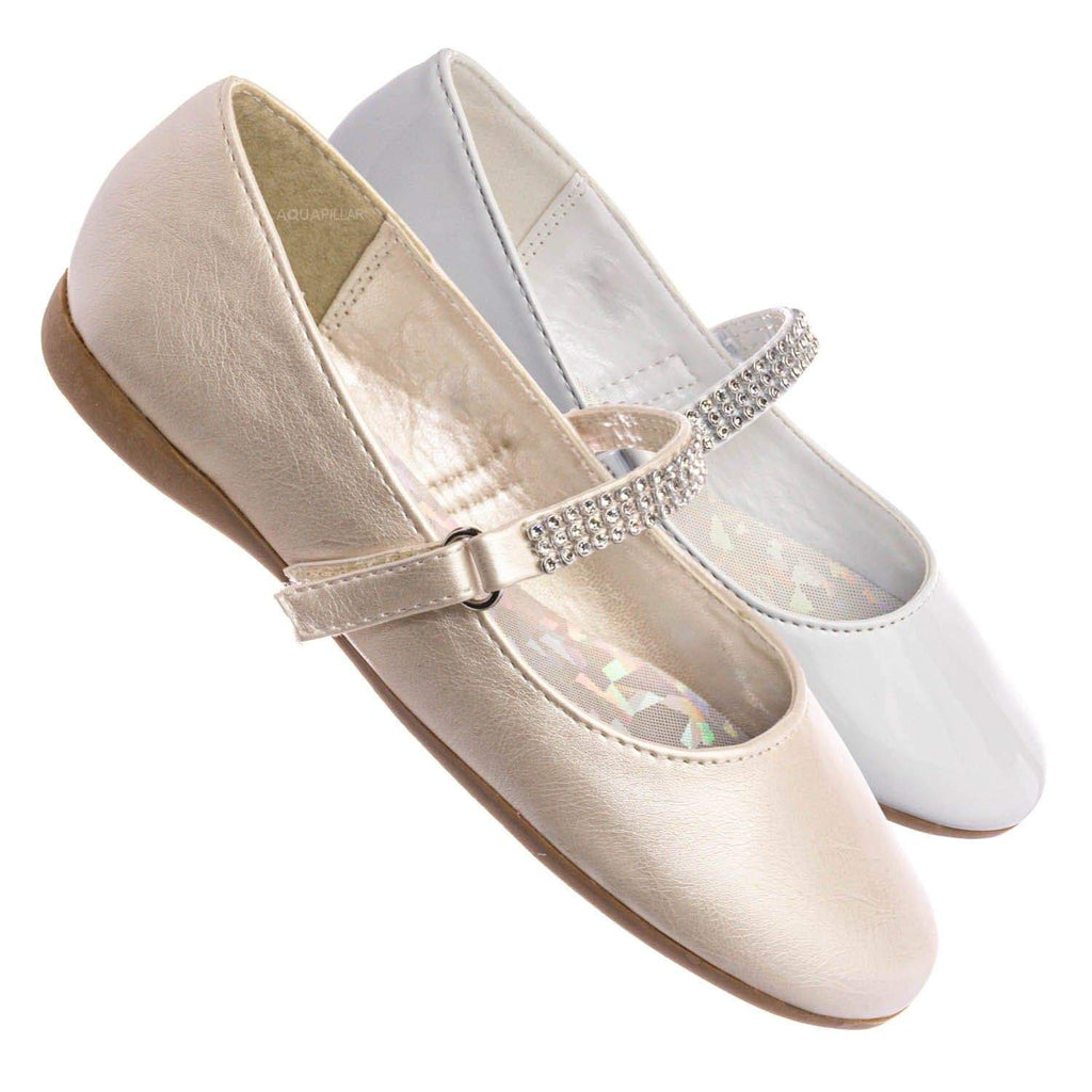Kelly767E Girls Mary Jane Rhinestone Flats - Kids Round Toe Ballerina Shoes