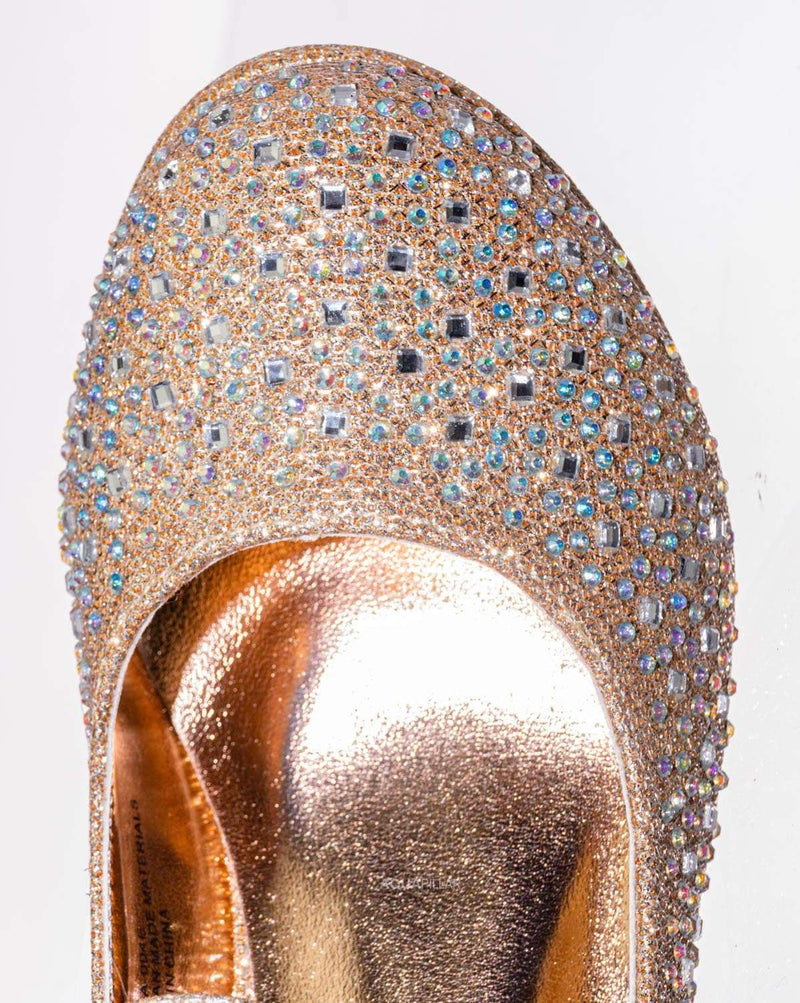 Rosegold Glitter / Tasha004E Girl Rhinestone Crystal Mary Jane Pump - Kids Block Heel Dress Shoes