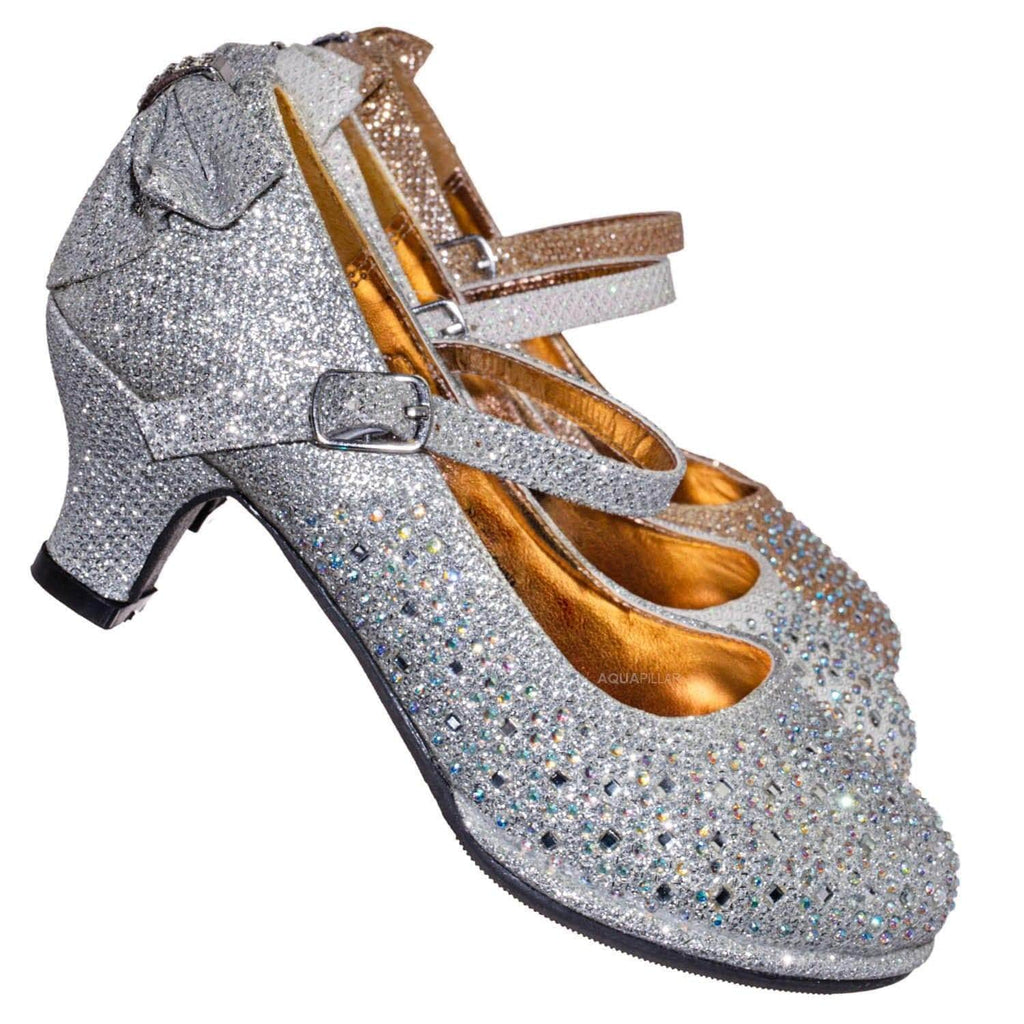 Tasha004E Girl Rhinestone Crystal Mary Jane Pump - Kids Block Heel Dress Shoes