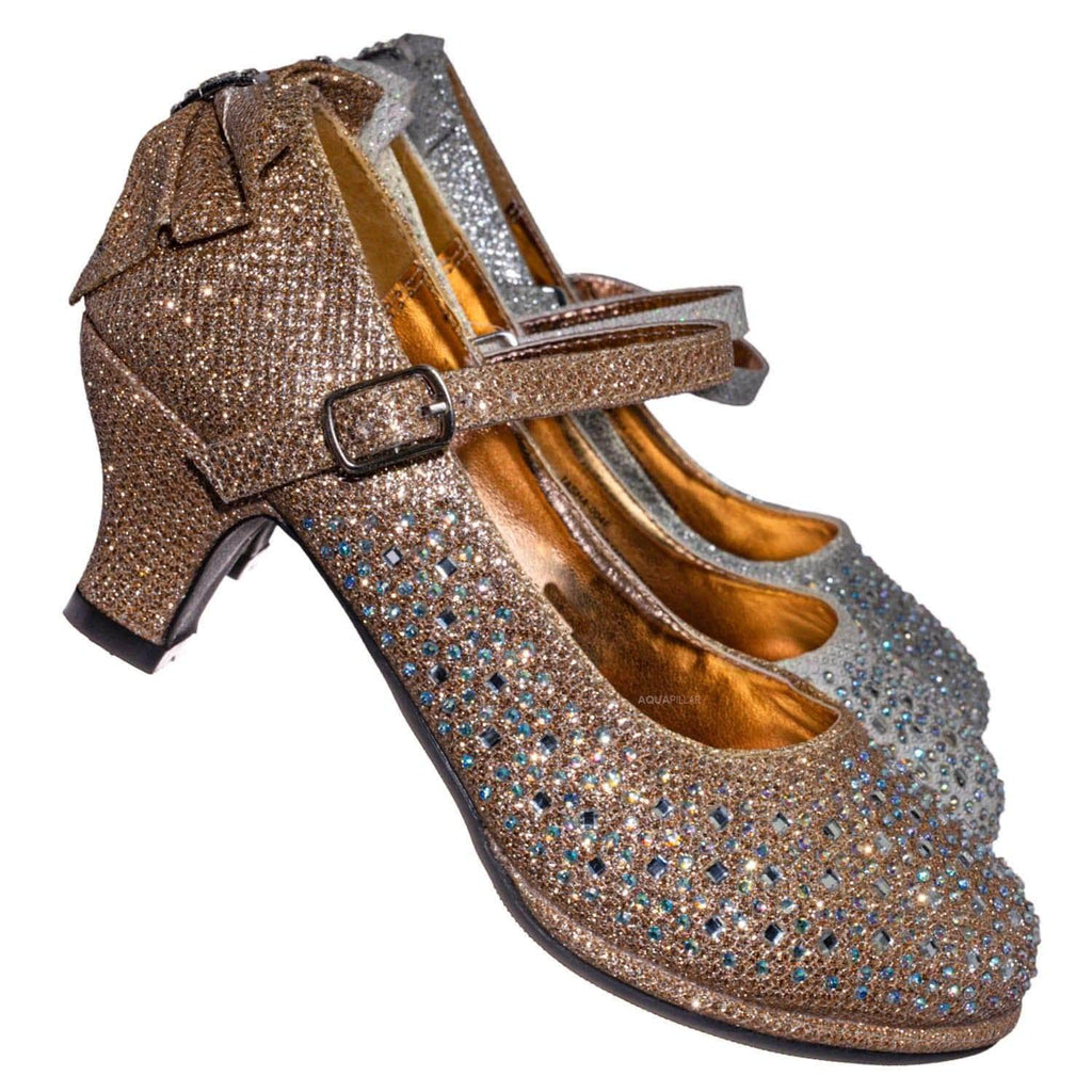 Tasha004T Rhinestone Crystal Mary Jane Pump - Womens Block Heel Dress Shoes