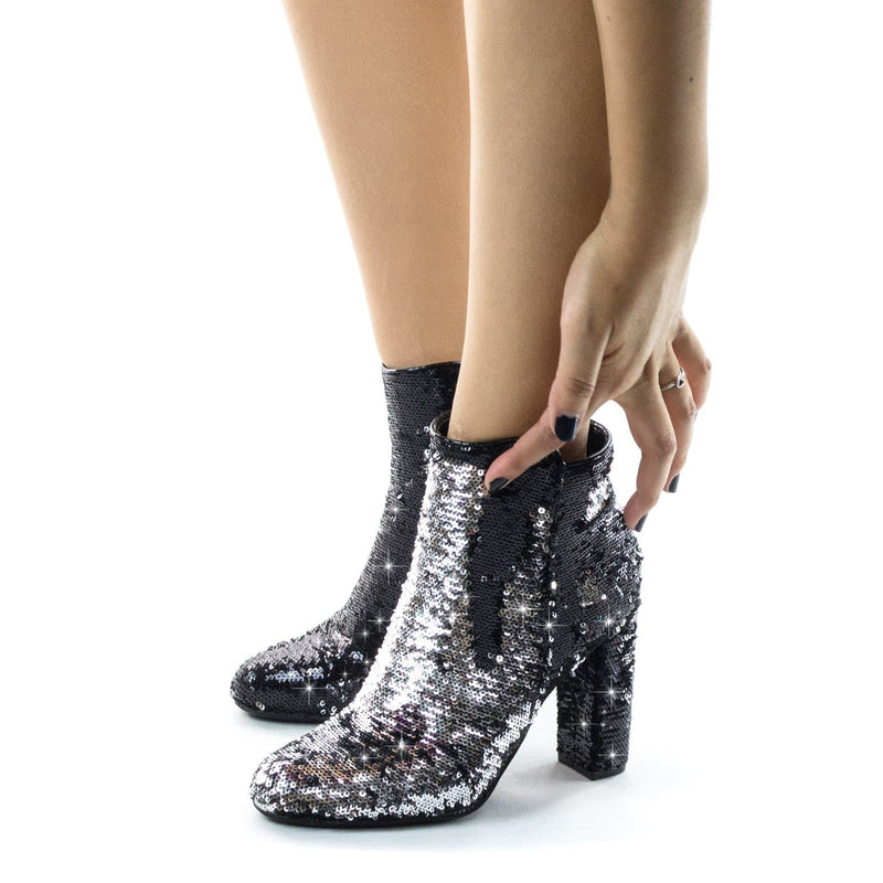 Living39 Silver Reversible Sequins Block Heel Ankle Bootie