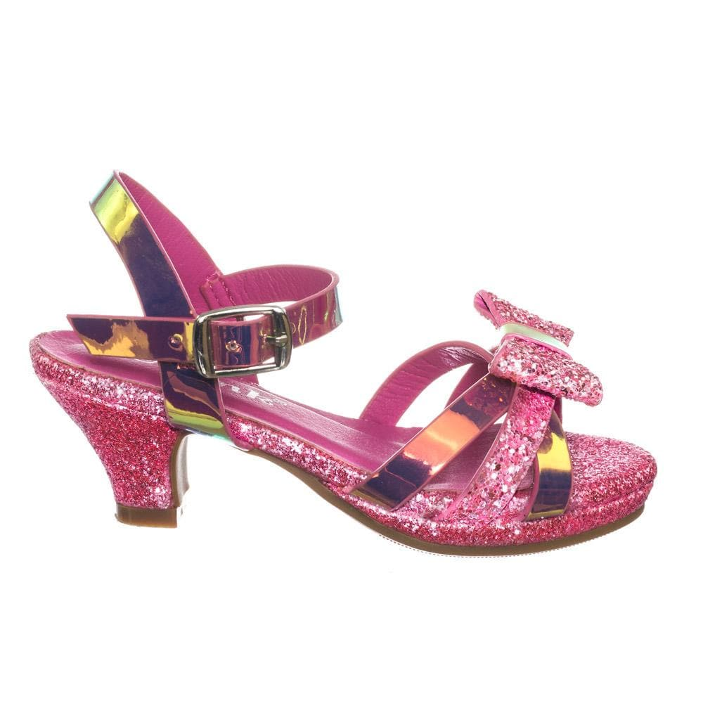 Smart79K Children Girl Low Heel Glitter Metallic Sandal w Bow & Ankle Strap