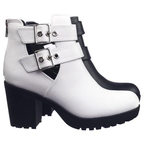 Recent Whitepu Open Buckle Side Slit Cutout Threaded Lug Sole Ankle Combat Bootie