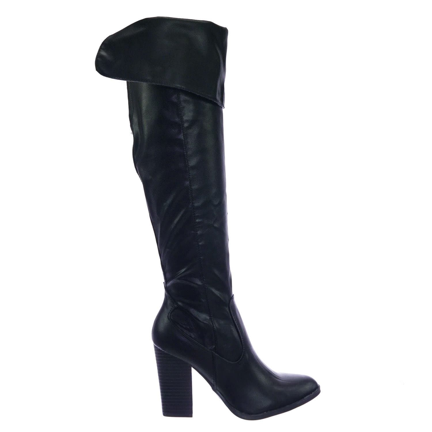 Showcase01 BlkCrp Faux Fur Lined Over Knee OTK Thgih High Foldable Block Heel Boot