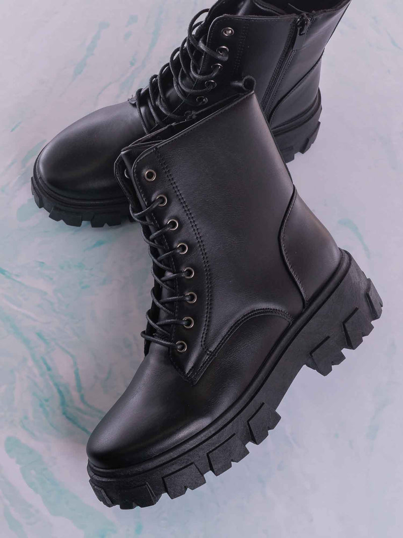 Lux1 Chunky Platform Combat Boots - Threaded Lug Sole Military Fashion Bootie