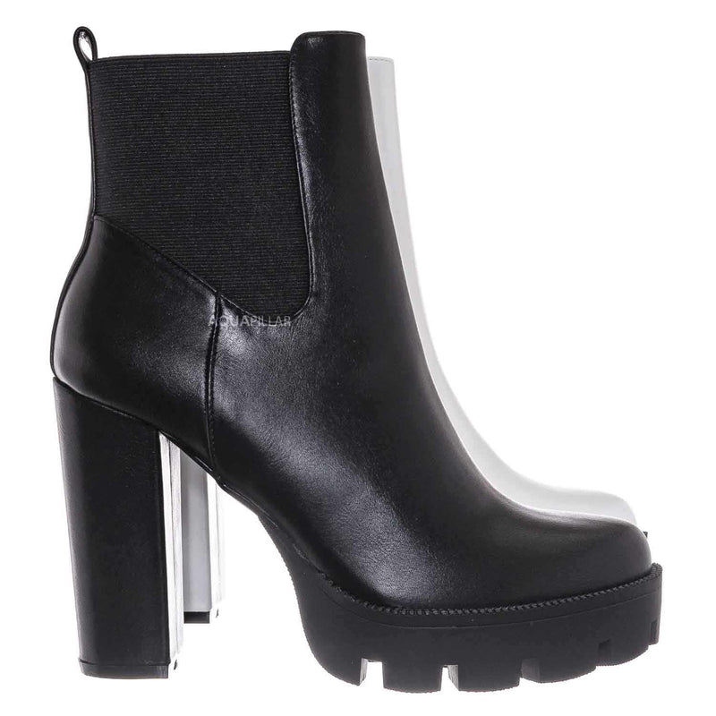 Black / Latavia3 Block Heel Zip Chelsea Boot
