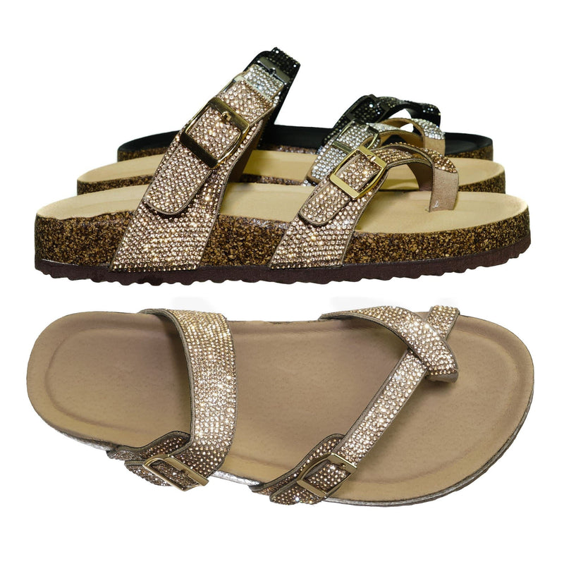 Rose Gold / Berk03 Rose Gold Rhinestone Molded Footbed Sandal - Women Crystal Slide In Contour Insole