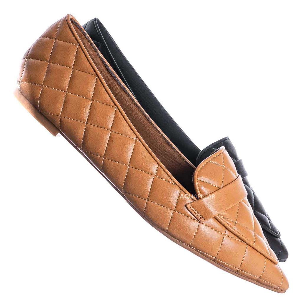 Justify80 Pointed Toe Quilted Loafer - Comfortable Ballet Padded Flat Shoes