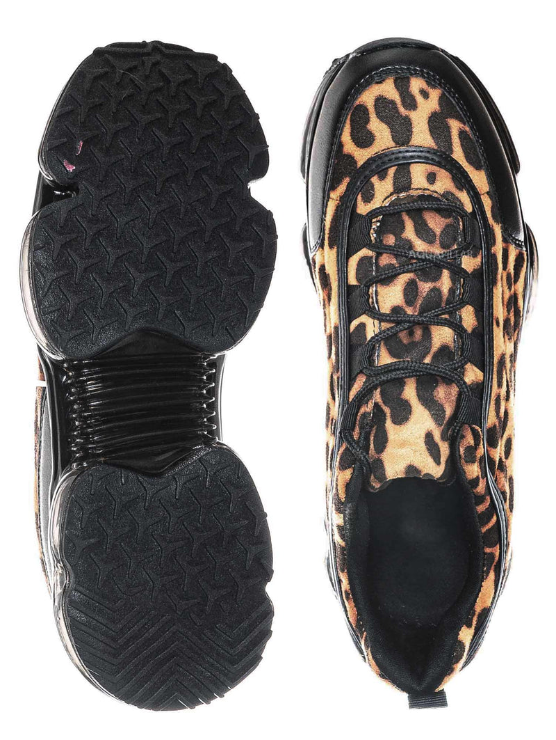 Leopard / Flow29 Chunky Translucent Clear Bottom Sneakers