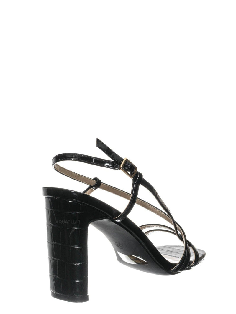 Black Croc / Kaiya1 Barely There Flat Block Heel Sandal - Open Squared Toe Animal Croc Print