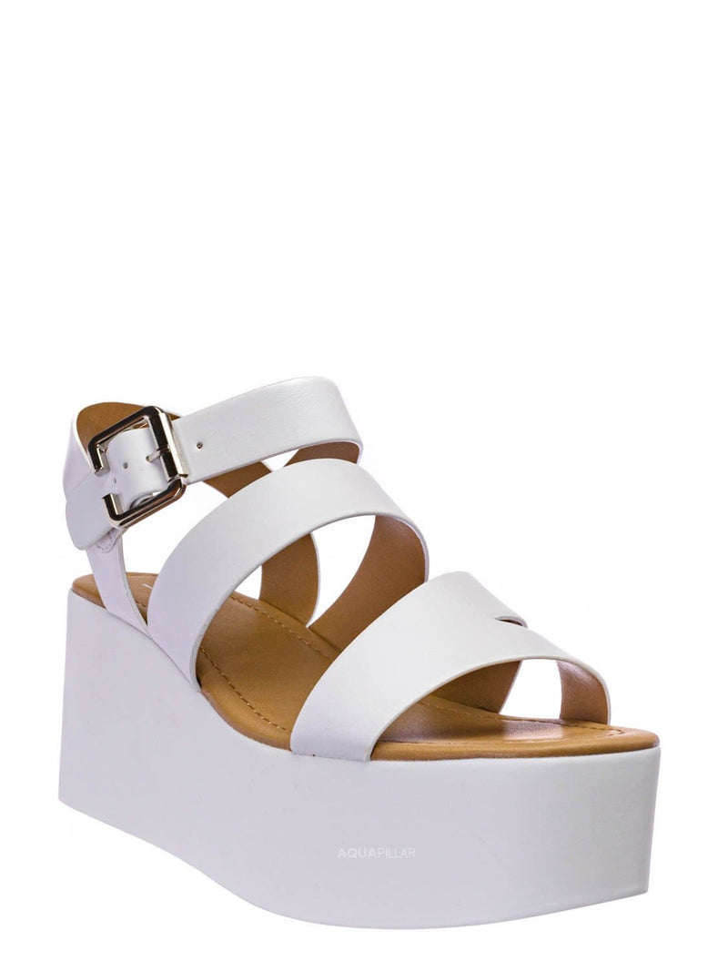 White Pu / Oversea Asymmetric Strappy Flatform Shoe - Women Cage Gladiator Platform Sandals